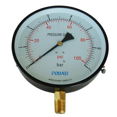 8inch-200mm Black Steel Case Brass Connection Bottom Thread Type Pressure Gauge2