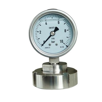 2.5 Inch Diameter SS316L Threaded Connection Diaphragm Pressure Gauge DN 25