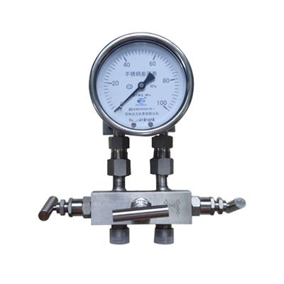 4inch-100mm All Stainless Steel Bottom Connection High Static Pressure Three-valve Differential Pressure Gauge