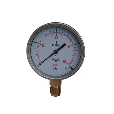 YE-100A 100mm Stainless Steel Case Bottom Connection Wika Type 16KPa Capsule Pressure Gauge With Zero Hole