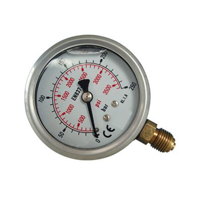 2.5inch-63mm Half Stainless Steel Bottom Type Liquid Filled Pressure Gauge2