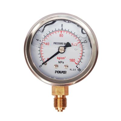 2.5inch-63mm Half Stainless Steel Bottom Type Liquid Filled Pressure Gauge
