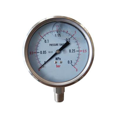 4inch-100mm Half Stainless Steel Bottom Type Liquid Filled Pressure Gauge