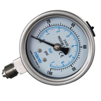 2.5inch-63mm Full Stainless Steel Bottom Thread Type Pressure Manometer