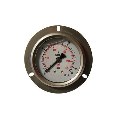 2.5inch-63mm Half Stainless Steel Back Type Liquid Filled Pressure Gauge With Flange