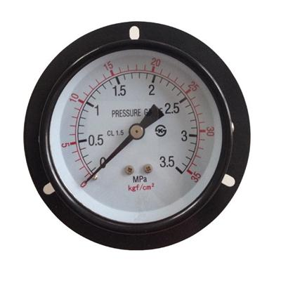 3.5inch-75mm Black Steel Case Brass Connection Back Type Pressure Gauge With Front Flange