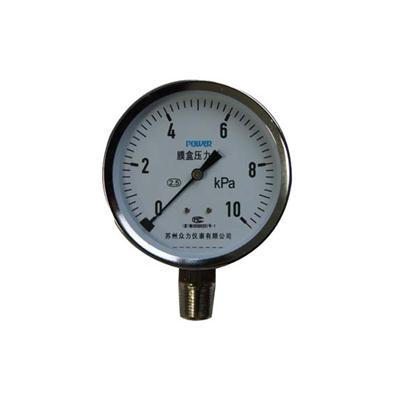 3inch-75mm 10KPa Chrome Plate Material Bellows Low Pressure Gauges
