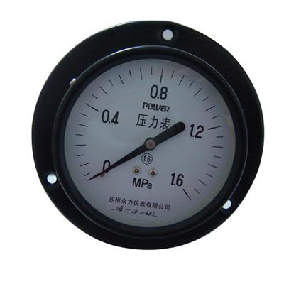 4inch-100mm Black Steel Case Brass Connection Back Type Pressure Gauge With Front Flange