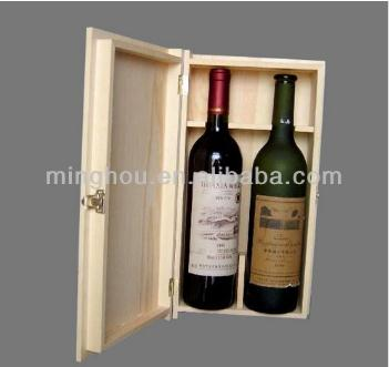 Shenzhen Factory Oem Pine Wood Double Bottle Wine Box MH-WB-15023
