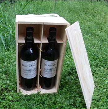 Wholesale Timber Pine Wood Wine Gift Box For 2 Bottles MH-WB-15024