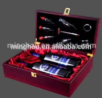 Luxury Wooden Double Bottle Wine Box With High Quality Corkscrews Accessories MH-WB-15025