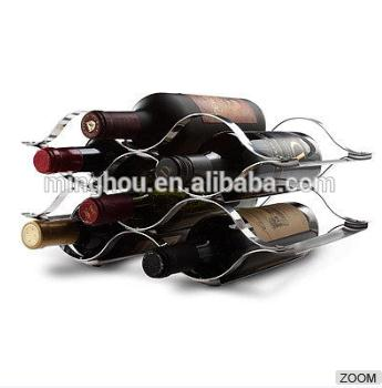 MINGHOU 6 Bottle Metal Wine Bottle Holder Stainless Steel Wine Rack MH-MR-15044