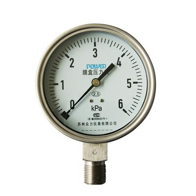 YE-100A 100mm Full Stainless Steel Bottom Type 6KPa Capsule Pressure Gauge
