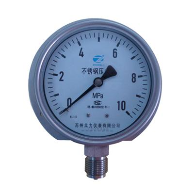 4 Inch-100mm Full Stainless Steel Bottom Thread Type Pressure Manometer With Flange