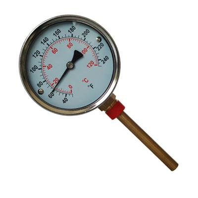 4inch-100mm Bottom Type Black Steel Case Material Temperature Gauge