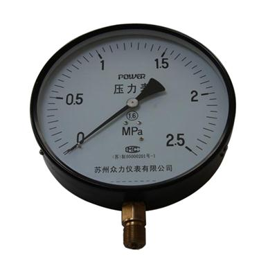 10inch-250mm Black Steel Case Brass Connection Bottom Thread Type Pressure Gauge