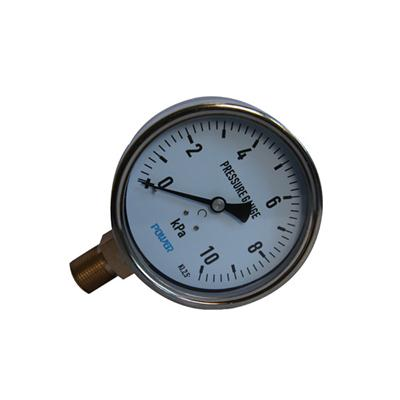 YE-100A 100mm Stainless Steel Case Bottom Brass Connection 10KPa Bellows Pressure Gauge