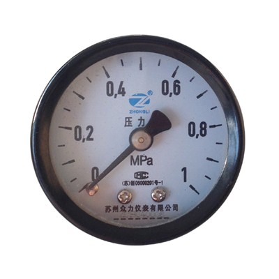 2.5inch-63mm Black Steel Case Brass Connection Back Thread Type Pressure Manometer2