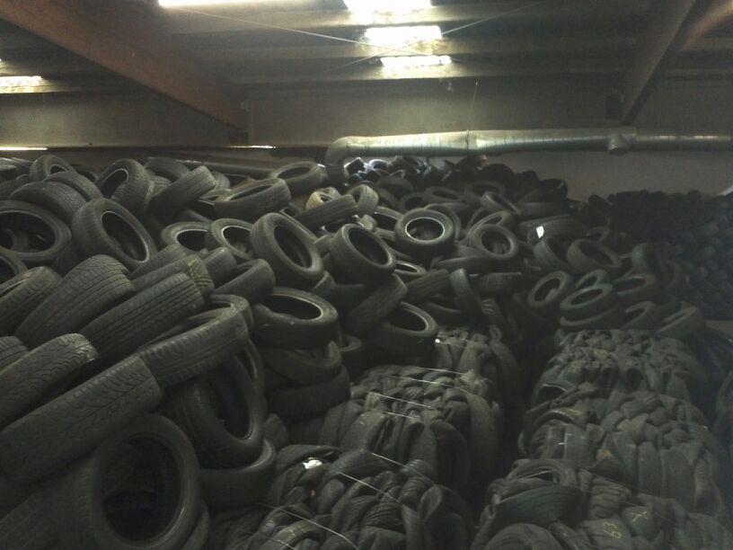 Used Tire Scrap on Bales