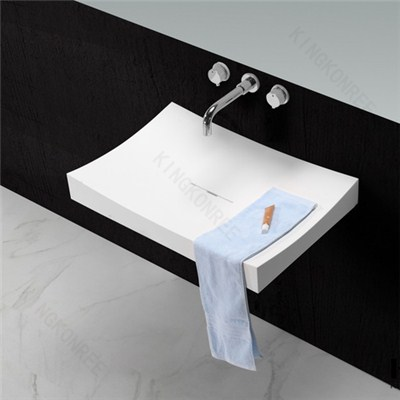 KKR Solid Surface Wall Hung Bathroom Wash Basin