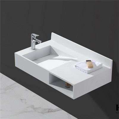 KKR Hotel Rectangular Wash Basins Artificial Stone Wall Hung Basin
