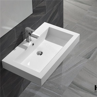 KKR CE SGS Certificate Resin Solid Surface Wall Hung Basin