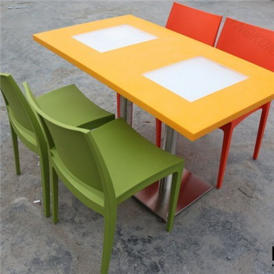 Modern Design Solid Surface Cafeteria Artificial Stone Dining Tables