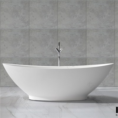 Oval Bathtub Stone, Portable Bathtub, Two Person Freestanding Bathtub