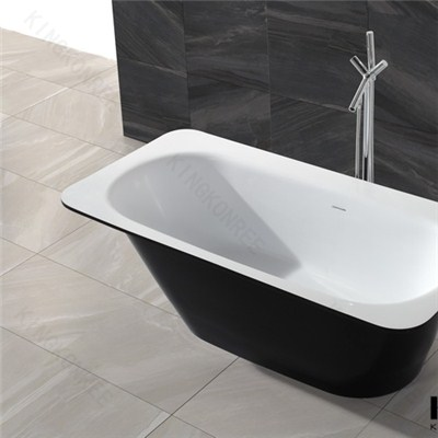 Hot Selling Bathtub Black Colored Solid Surface Freestanding Bathtub