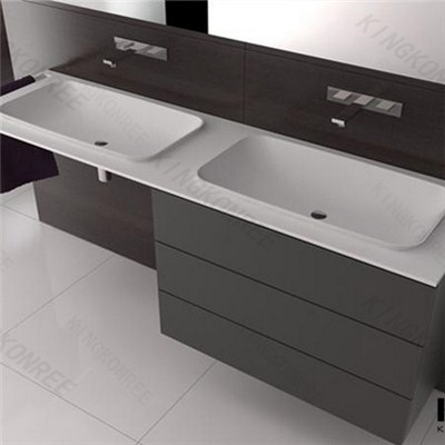 Kkr Artificial Stone Acrylic Solid Surface Pure White Vanity Top