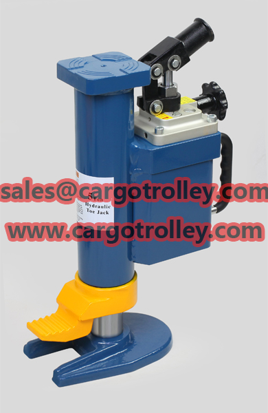 Lower toe jack with safety valve for overload protection