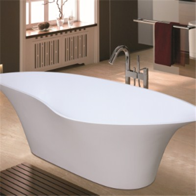 Snow white solid surface bathtub BAT-001