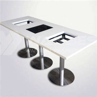 6 People Solid Surface Hot Pot Table