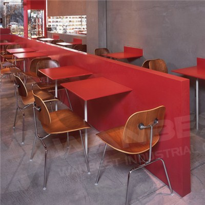 Corian Red Restaurant Tables And Wall Cladding