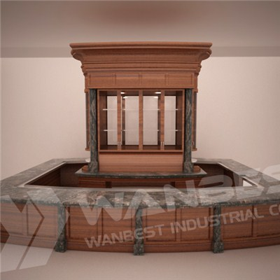 Solid Wood Customized Artficial Marble Huge Bar Counter