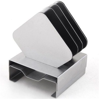 CA004 Stainless Steel Barware Coasters With Stand And EVA Packing Cup Mat