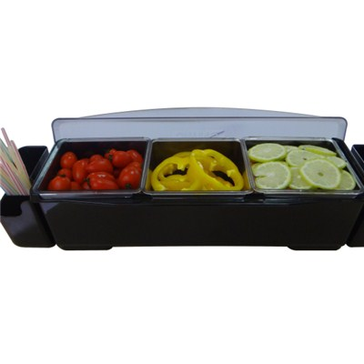 BC017 ABS + PP Plastic 3pcs Condiment Tray Storage Containers Fruit Holder