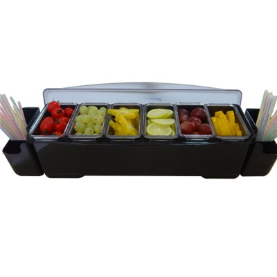 BC016 ABS + PP Plastic 6pcs Condiment Tray Fruit Holder Storage Containers