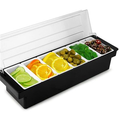 BC012 Acrylic + Stainless Steel Bar Caddy 5pcs Condiment Tray Fruit Holder Storage Containers
