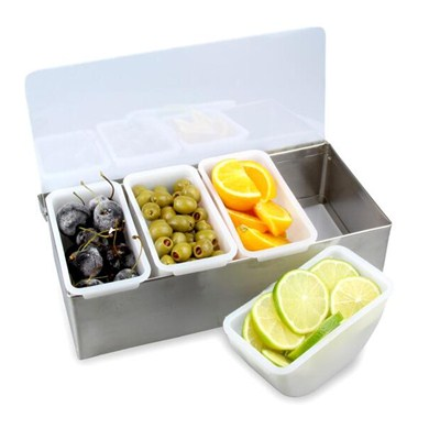 BC011 Acrylic + Stainless Steel Bar Caddy 4pcs Condiment Tray Fruit Holder Storage Containers