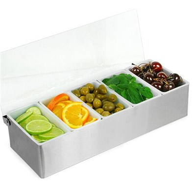 BC010 Acrylic + Stainless Steel Bar Caddy 5pcs Condiment Tray Fruit Holder Storage Containers