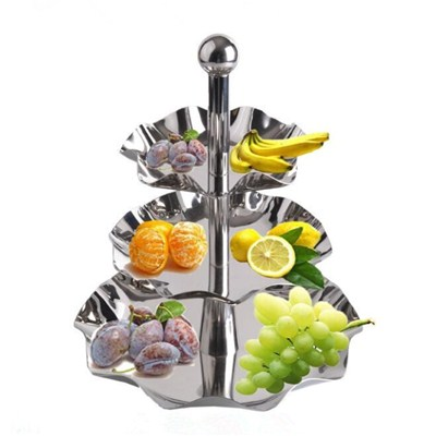 FH021 Stainless Steel Barware Fruit Holder Fruit Plate Fruit Bowl Serving Tray with Stand