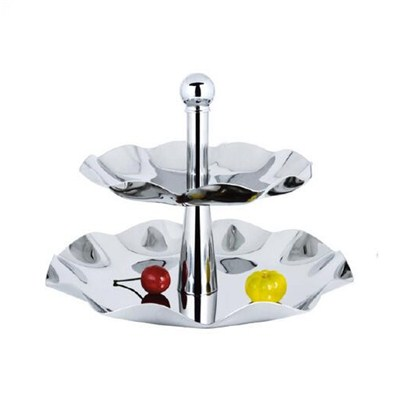 FH024 Stainless Steel Barware Fruit Holder Fruit Plate Fruit Bowl Serving Tray with Stand
