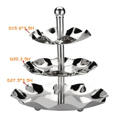 FH024-02 Stainless Steel Barware Fruit Holder Fruit Plate Fruit Bowl Serving Tray with Stand