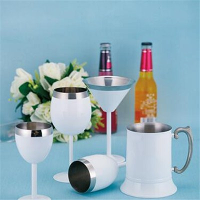 MM031 5.5oz Good Quality Stainless Steel Barware Mug Double-Walled Martini Cup with Cooling Gel Wine Goblet Cup Beer Cup