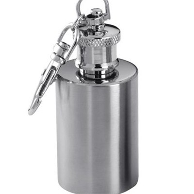 HF011 1oz Stainless Steel Barware Mini Hip Flask with Ring