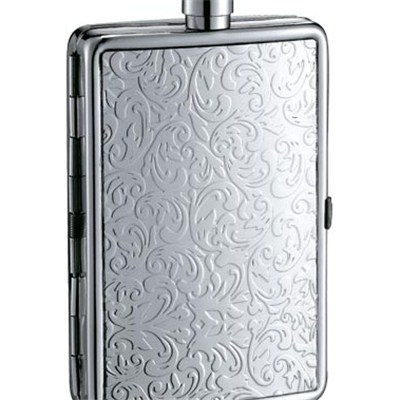 HF0018 4oz Stainless Steel Barware Square Shape Hip Flask with Name Card