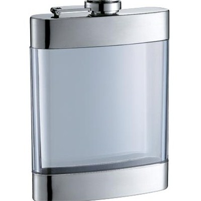 HF0025 6oz Stainless Steel Barware Square Shape Hip Flask with Arcylic Body