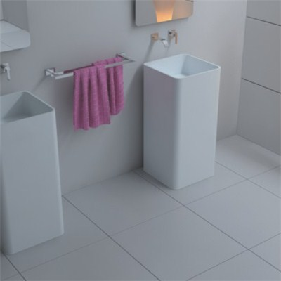 Pedestal white solid surface basin BAV-008