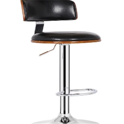 Black Adjustable Wooden Bar Stool